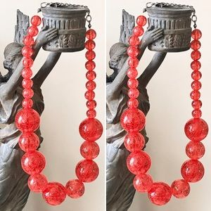 Vintage Shatter Orb Bead Graduated Red Necklace